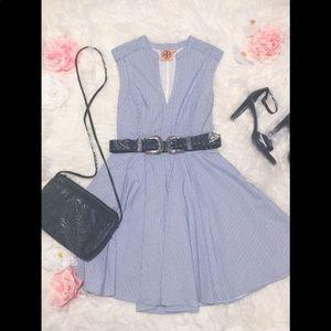 Tory Burch Blue and White Striped Sleeveless Dress